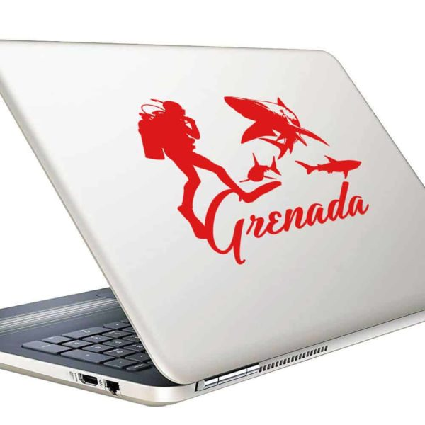 Grenada Scuba Diver With Sharks Vinyl Laptop Macbook Decal Sticker