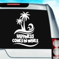 Happiness Comes In Waves Palm Trees Vinyl Car Window Decal Sticker