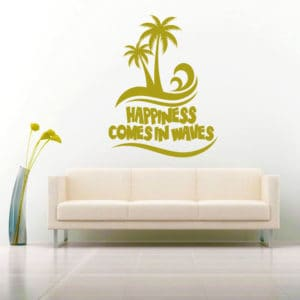 Happiness Comes In Waves Palm Trees Vinyl Wall Decal Sticker