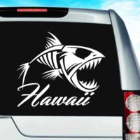 Hawaii Fish Skeleton Vinyl Car Window Decal Sticker