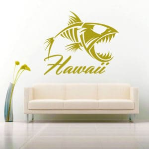 Hawaii Fish Skeleton Vinyl Wall Decal Sticker