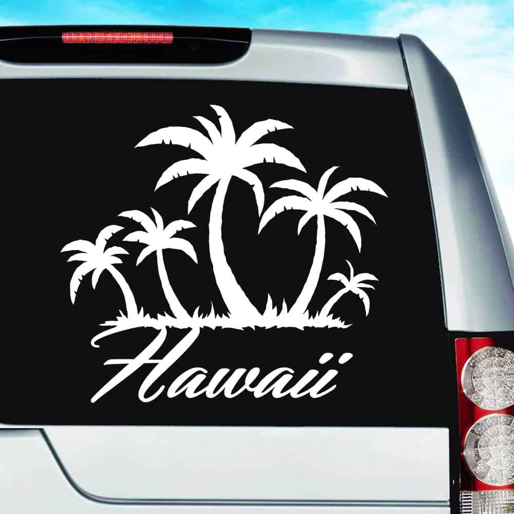 Hawaii Tropical Palm Tree Island Vinyl Car Window Decal