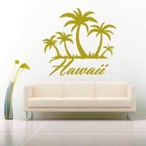 Hawaii Palm Tree Island Vinyl Wall Decal Sticker