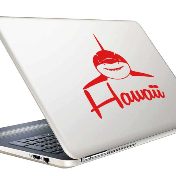 Hawaii Shark Front View Vinyl Laptop Macbook Decal Sticker