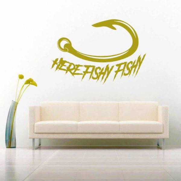 Here Fishy Fishy Fishing Hook Vinyl Wall Decal Sticker