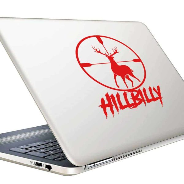 Hillbilly Deer Hunting Scope Vinyl Laptop Macbook Decal Sticker