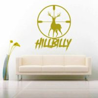 Hillbilly Deer Hunting Scope Vinyl Wall Decal Sticker