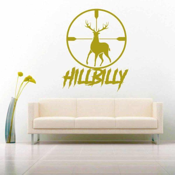 Hillbilly Deer Hunting Scope Vinyl Wall Decal Sticker