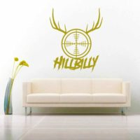 Hillbilly Rifle Gun Scope Antlers Vinyl Wall Decal Sticker
