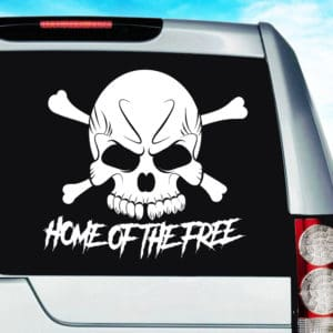 Home Of The Free Skull Vinyl Car Window Decal Sticker