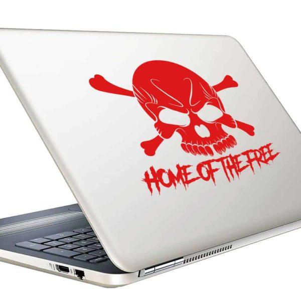 Home Of The Free Skull Vinyl Laptop Macbook Decal Sticker