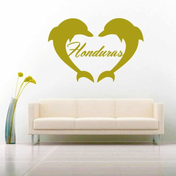 Honduras Dolphin Heart Vinyl Wall Decal Sticker