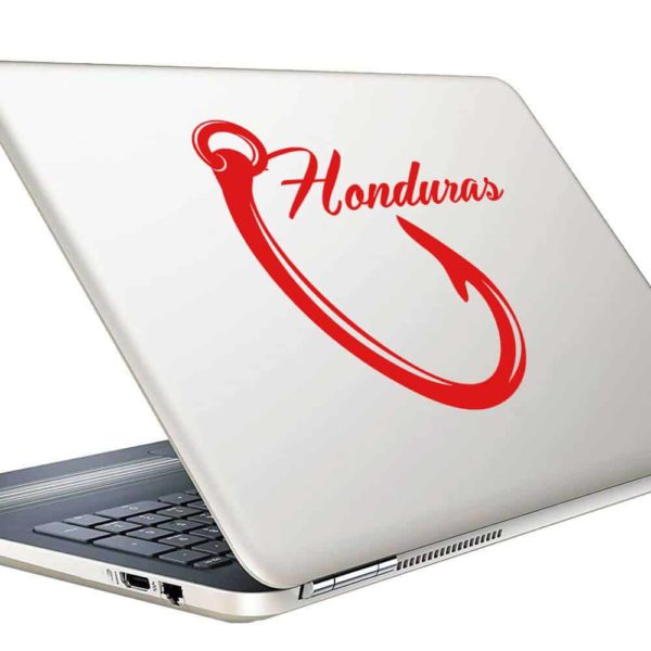 Honduras Fishing Hook Vinyl Laptop Macbook Decal Sticker