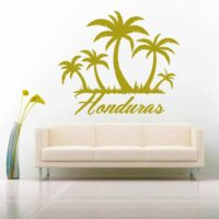 Honduras Palm Tree Island Vinyl Wall Decal Sticker
