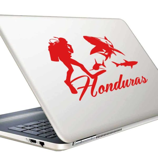 Honduras Scuba Diver With Sharks Vinyl Laptop Macbook Decal Sticker