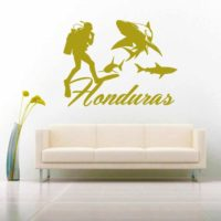 Honduras Scuba Diver With Sharks Vinyl Wall Decal Sticker