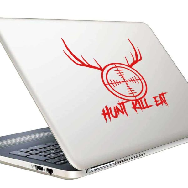 Hunt Kill Eat Rifle Gun Scope Antlers Vinyl Laptop Macbook Decal Sticker