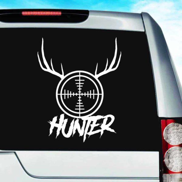 Hunter Rifle Gun Scope Antlers Vinyl Car Window Decal Sticker