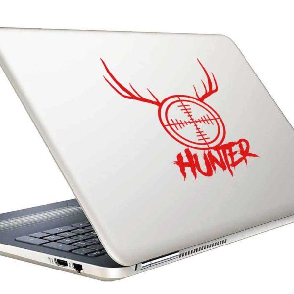 Hunter Rifle Gun Scope Antlers Vinyl Laptop Macbook Decal Sticker
