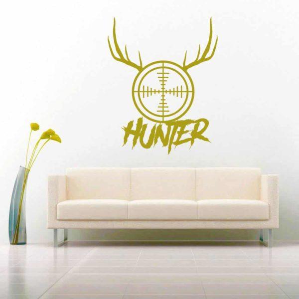 Hunter Rifle Gun Scope Antlers Vinyl Wall Decal Sticker