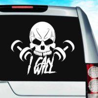 I Can I Will Skull Dumbbells Vinyl Car Window Decal Sticker