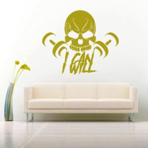 I Can I Will Skull Dumbbells Vinyl Wall Decal Sticker
