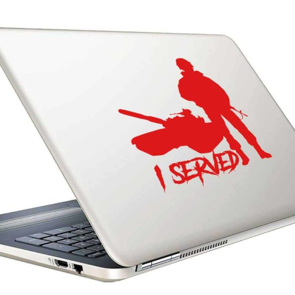 I Served Veteran Soldier Tank Vinyl Laptop Macbook Decal Sticker