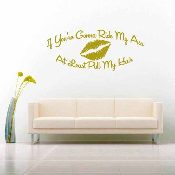 If Youre Gonna Ride My Ass At Least Pull My Hair Vinyl Wall Decal Sticker