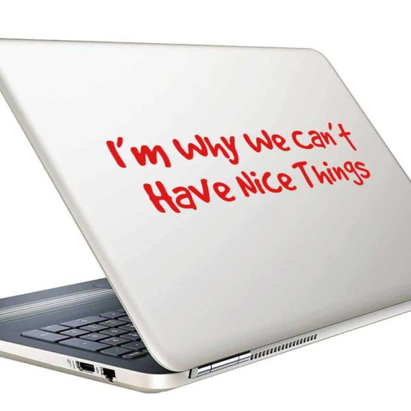 Im Why We Cant Have Nice Things Vinyl Laptop Macbook Decal Sticker