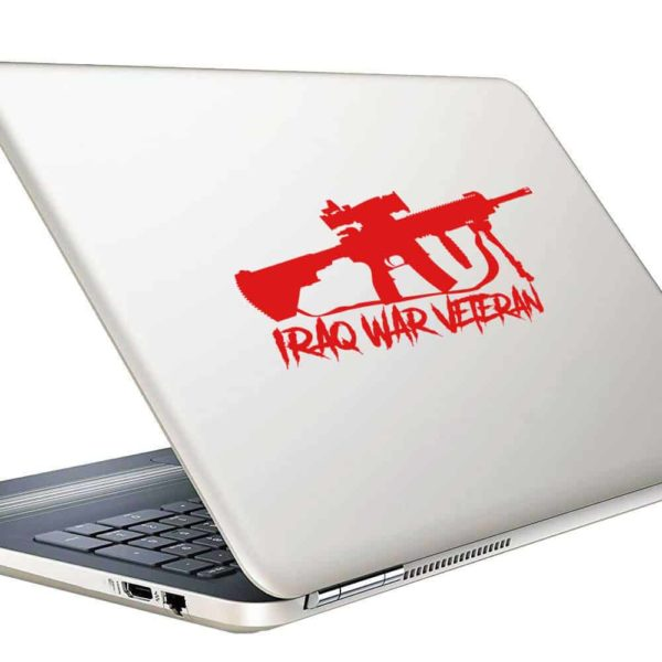 Iraq War Veteran Machine Gun Vinyl Laptop Macbook Decal Sticker