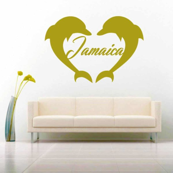 Jamaica Dolphin Heart Vinyl Wall Decal Sticker