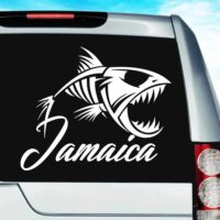Jamaica Fish Skeleton Vinyl Car Window Decal Sticker