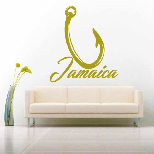 Jamaica Fishing Hook Vinyl Wall Decal Sticker