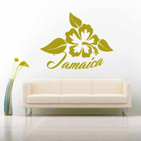 Jamaica Hibiscus Flower Vinyl Wall Decal Sticker