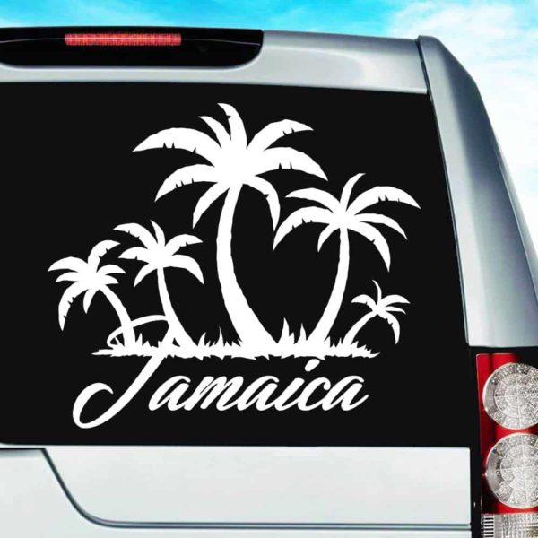 Jamaica Palm Tree Island Vinyl Car Window Decal Sticker
