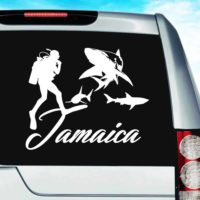 Jamaica Scuba Diver With Sharks Vinyl Car Window Decal Sticker
