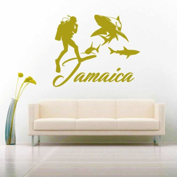 Jamaica Scuba Diver With Sharks Vinyl Wall Decal Sticker