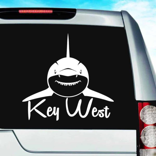 Key West Shark Front View Vinyl Car Window Decal Sticker