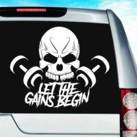 Let The Gains Begin Skull Dumbbells Vinyl Car Window Decal Sticker