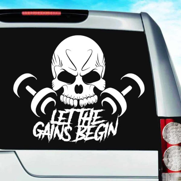 Let The Gains Begin Skull Dumbbells Vinyl Car Window Decal Sticker