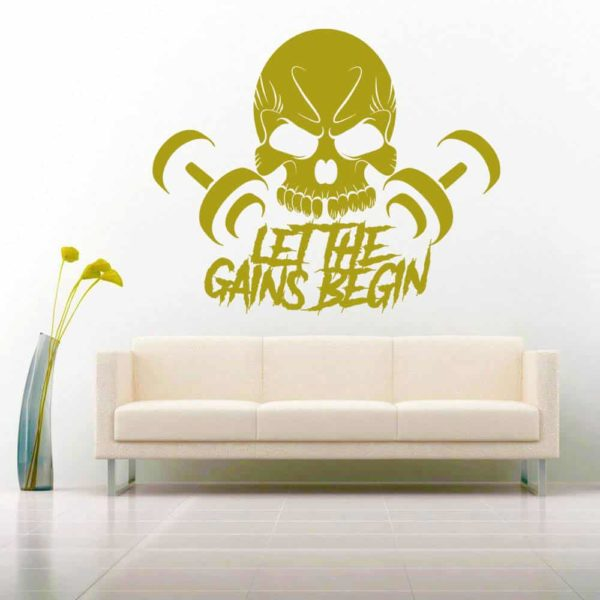 Let The Gains Begin Skull Dumbbells Vinyl Wall Decal Sticker