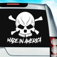 Made In America Skull Vinyl Car Window Decal Sticker