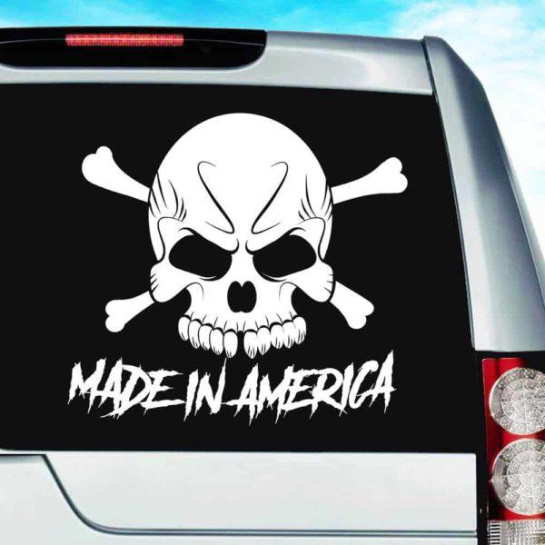Made In America Skull Vinyl Car Window Decal Sticker