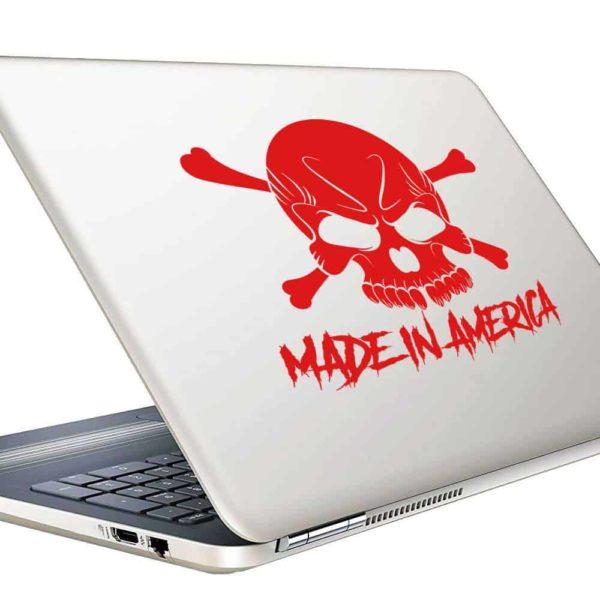 Made In America Skull Vinyl Laptop Macbook Decal Sticker
