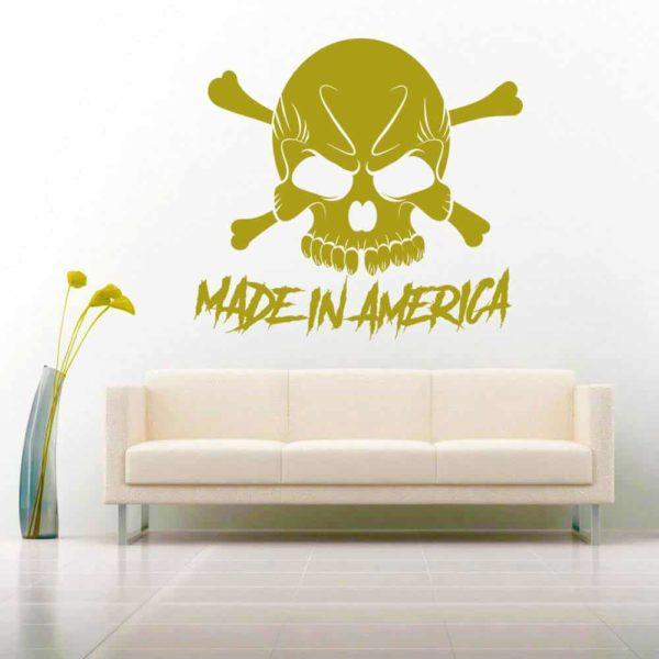 Made In America Skull Vinyl Wall Decal Sticker