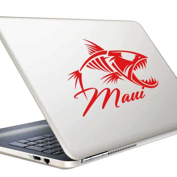 Maui Hawaii Fish Skeleton Vinyl Laptop Macbook Decal Sticker