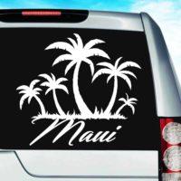 Maui Hawaii Palm Tree Island Vinyl Car Window Decal Sticker