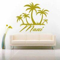 Maui Hawaii Palm Tree Island Vinyl Wall Decal Sticker