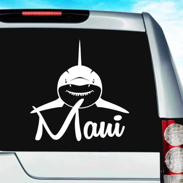 Maui Shark Front View Vinyl Car Window Decal Sticker