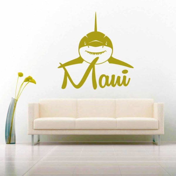 Maui Shark Front View Vinyl Wall Decal Sticker